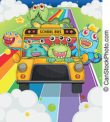 A school bus with monsters