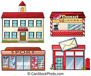A school, donut store, sport shop and a post office -...