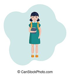 A school girl with a book in her hand and a backpack smiles, a cheerful child with two ponytails in a dress. Vector flat image