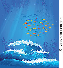 A school of fish and the waves - Illustration of a school of...