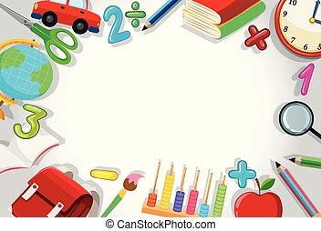 A school stationery border