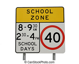 A school zone sign isolated on white