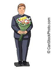 A schoolboy boy stands with a bouquet of flowers. In full dress uniform. The holiday is September 1.