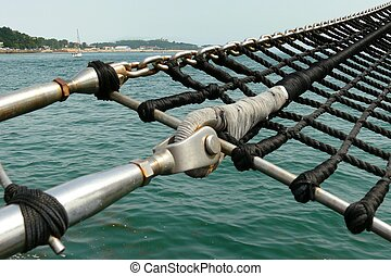 A schooner marine rope ladder - Perspective and detail view...