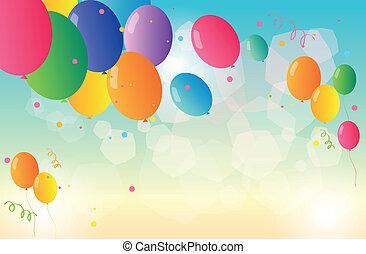 a, schreibwaren, mit, farbenprächtige luftballons