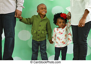 a, schwarz, family's, weihnachten, foto