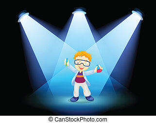 A scientist at the stage with spotlights