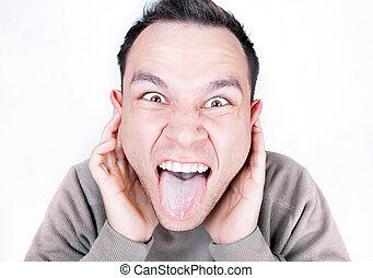 a, scream., retrato, de, engraçado, homem, screaming.