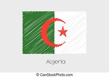 Scribbled Flag Illustration of the country of Algeria