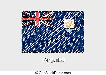 Scribbled Flag Illustration of the country of Anguilla