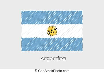 Scribbled Flag Illustration of the country of Argentina