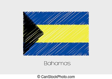 Scribbled Flag Illustration of the country of Bahamas