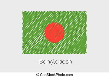 Scribbled Flag Illustration of the country of Bangladesh