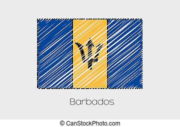 Scribbled Flag Illustration of the country of Barbados