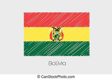 Scribbled Flag Illustration of the country of Bolivia