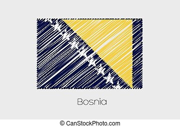 Scribbled Flag Illustration of the country of Bosnia