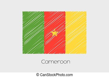 Scribbled Flag Illustration of the country of Cameroon