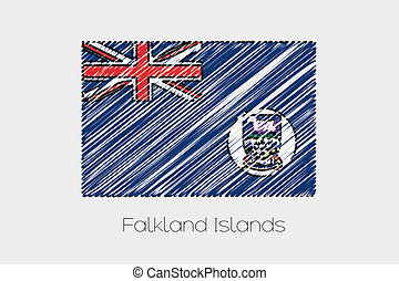 Scribbled Flag Illustration of the country of Falkland Islands
