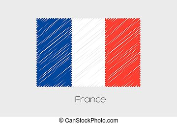 Scribbled Flag Illustration of the country of France