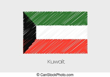 Scribbled Flag Illustration of the country of Kuwait