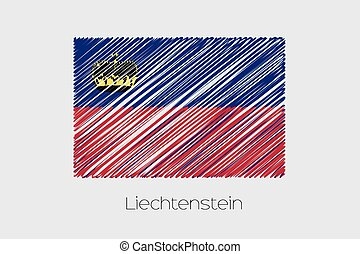 Scribbled Flag Illustration of the country of Liechtenstein