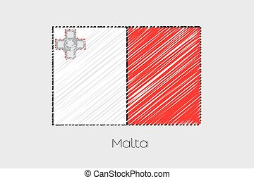 Scribbled Flag Illustration of the country of Malta