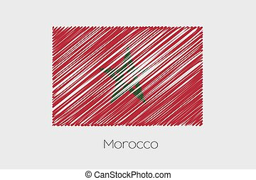 Scribbled Flag Illustration of the country of Morocco