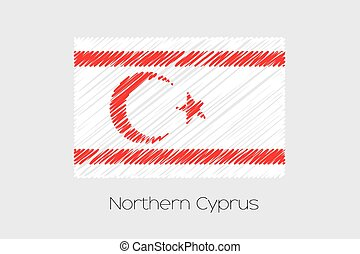 Scribbled Flag Illustration of the country of Northern Cyprus