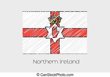 Scribbled Flag Illustration of the country of Northern Ireland
