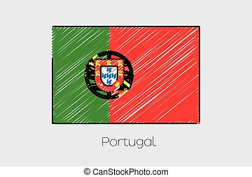 Scribbled Flag Illustration of the country of Portugal