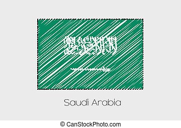 Scribbled Flag Illustration of the country of Saudi Arabia