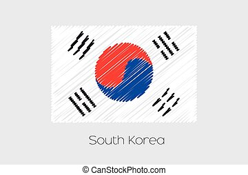 Scribbled Flag Illustration of the country of South Korea