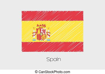 Scribbled Flag Illustration of the country of Spain