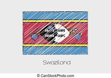 Scribbled Flag Illustration of the country of Swaziland