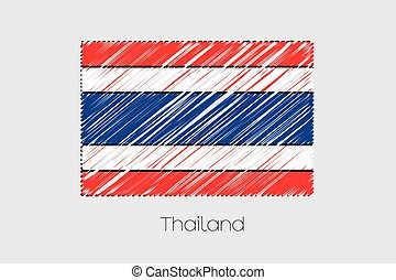 Scribbled Flag Illustration of the country of Thailand