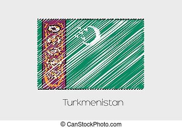 Scribbled Flag Illustration of the country of Turkmenistan