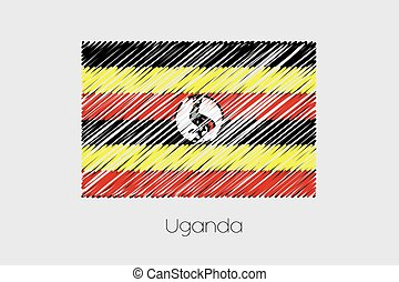 Scribbled Flag Illustration of the country of Uganda