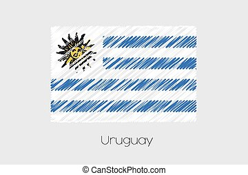 Scribbled Flag Illustration of the country of Uruguay