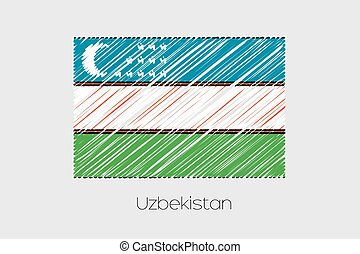 Scribbled Flag Illustration of the country of Uzbekistan