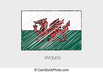 Scribbled Flag Illustration of the country of Wales