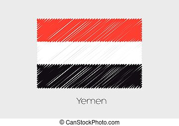 Scribbled Flag Illustration of the country of Yemen