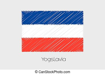 Scribbled Flag Illustration of the country of Yugoslavia