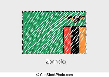 Scribbled Flag Illustration of the country of Zambia