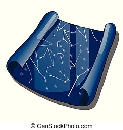 A scroll with a map of the constellations isolated on a white background. Cartoon vector close-up illustration.