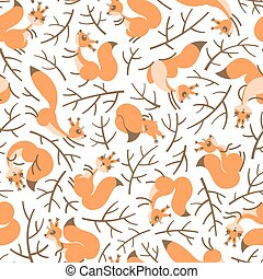 Scurry of Squirrels on the branches. Seamless autumn pattern...
