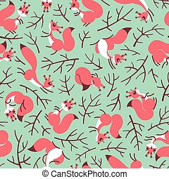 Scurry of Squirrels on the branches. Seamless summer pattern...