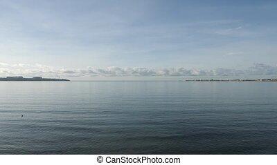 a sea bay, a bay with a view of the city. 4k, slow motion