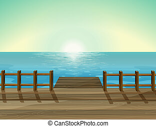 A sea scenery - Illustration of a sea scenery