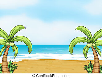 Illustration of a sea shore in a beautiful nature