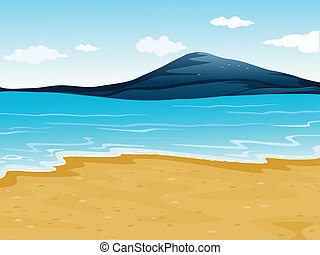 A sea shore - Illustration of a sea shore in a beautiful ...